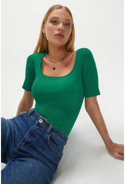 Green Knitted Rib Square Neck Top