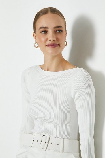 Ivory Knitted Rib Slash Neck Top
