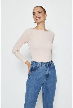 Rose dust Knitted Rib Slash Neck Top