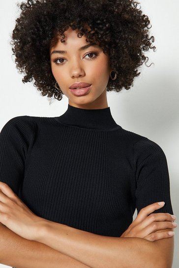 Black Knitted Rib Short Sleeve Roll Neck Top
