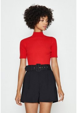 Red Knitted Rib Short Sleeve Roll Neck Top