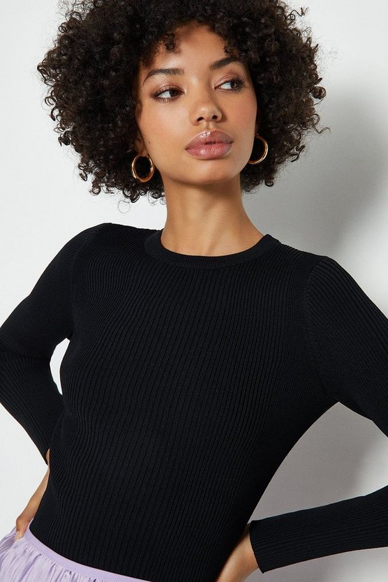 Black Knitted Rib Long Sleeve Crew Neck Top