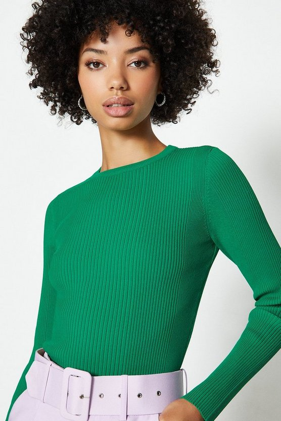 Green Knitted Rib Long Sleeve Crew Neck Top