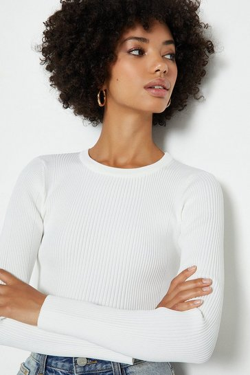 Ivory Knitted Rib Long Sleeve Crew Neck Top