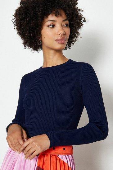 Navy Knitted Rib Long Sleeve Crew Neck Top