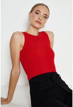 Red Knitted Rib Crew Neck Vest Top