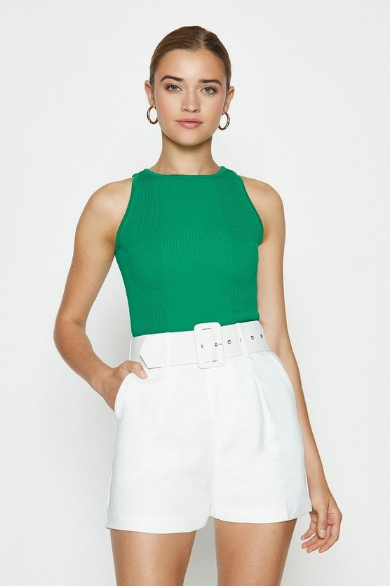 Green Knitted Rib Cut Away Vest Top