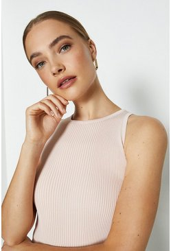 Rose dust Knitted Rib Cut Away Vest Top