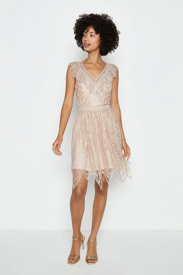 Nude Cutwork Lace Fit And Flare Short Dress