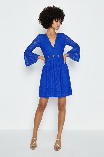 Cobalt 3/4 Lace Sleeve Short Swing Dress