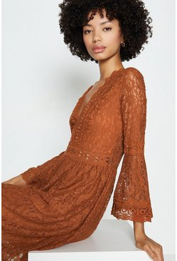 Orange 3/4 Lace Sleeve Short Swing Dress