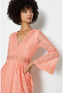 Pink 3/4 Lace Sleeve Short Swing Dress