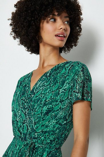 Green Short Sleeve Wrap Print Maxi Dress