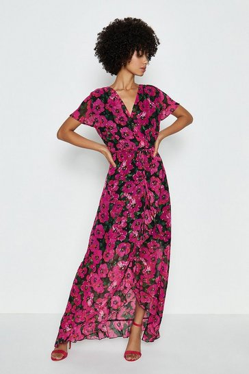 Pink Short Sleeve Wrap Print Maxi Dress