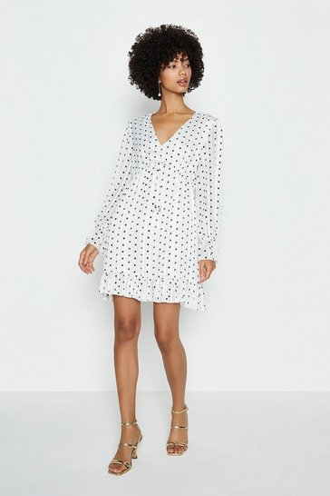 Ivory V-Neck Spot Short Swing Dress