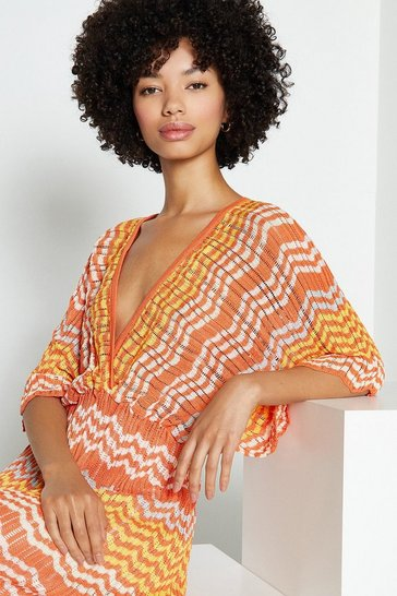 Orange Short Sleeve Knit Geometric Dress