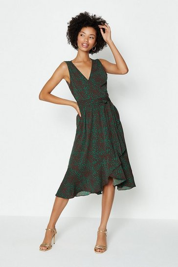 Green Sleeveless Wrap Dress
