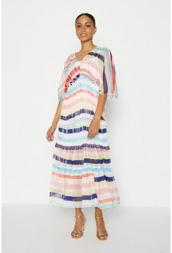 Multi Printed Tiered Maxi Dress