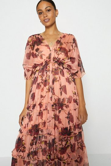 Pink Printed Tiered Maxi Dress