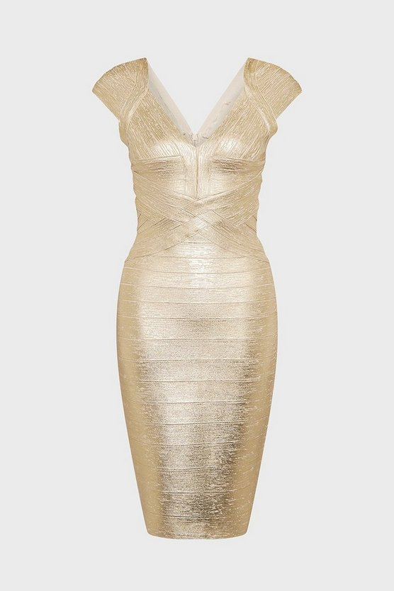 Gold Metallic Sweetheart Neck Dress