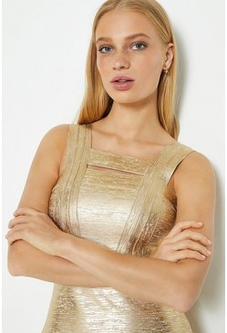 Gold Square Neck Metallic Dress