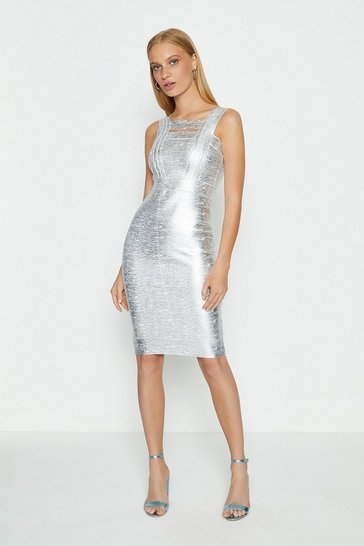 Silver Square Neck Metallic Dress