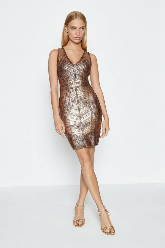 Bronze V Neck Metallic Dress
