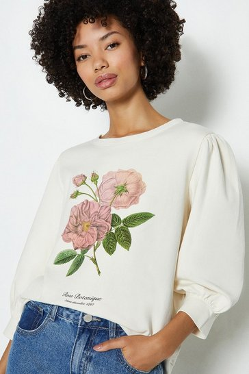 Ivory Botanical Floral Puff Sleeve Sweat Shirt