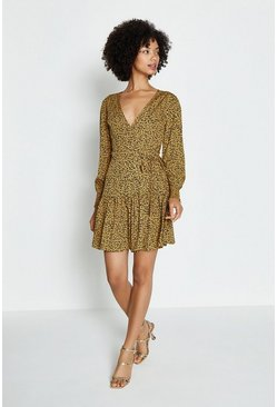 Yellow Floral Print Ruffled Tiered Hem Wrap Mini DresS