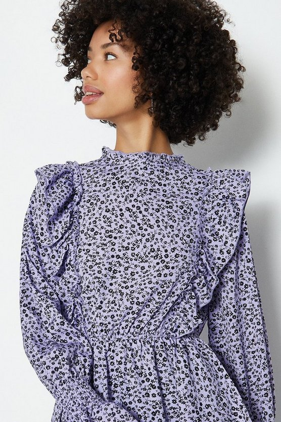 Lilac Ditsy Shirred Neck Peplum Hem Long Sleeve Top