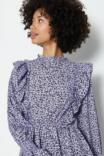 Lilac Ditsy Shirred Neck Peplum Hem Long Sleeve To