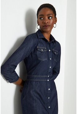 Blue Button Front Fit and Flare Denim Dress
