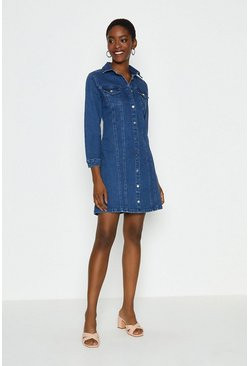 Blue Long Sleeve Button Through Denim Dress