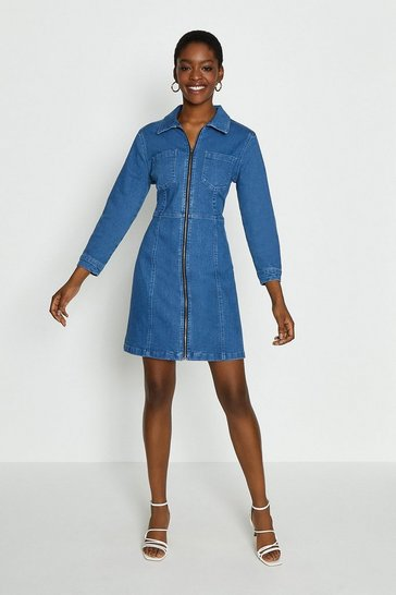 Blue Zip Through Denim Dress