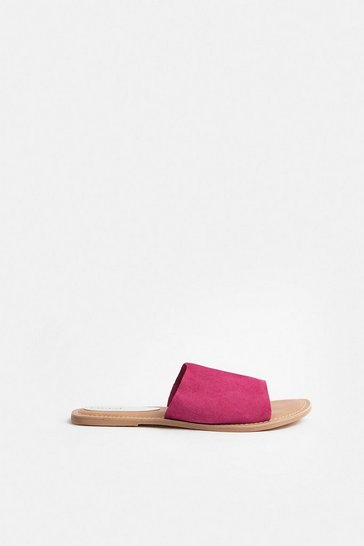 Pink Colour Pop Slide On Suede Sandal