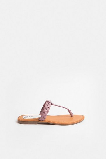 Lilac Plaited Leather Sandal