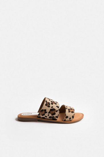 Animal Double Strap Faux Leather Sandal