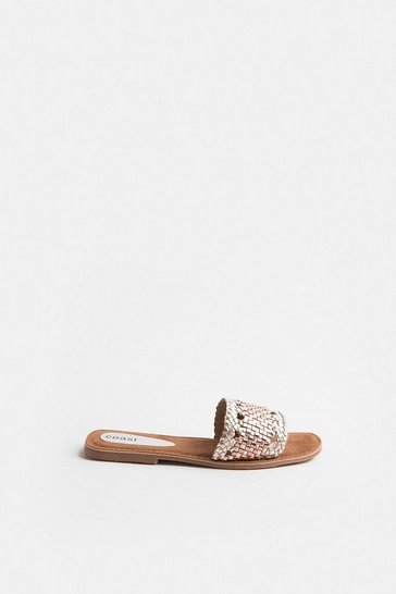 Gold Woven Metallic Leather Slip On Sandal