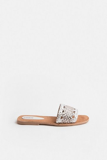 Pewter Woven Metallic Leather Slip On Sandal