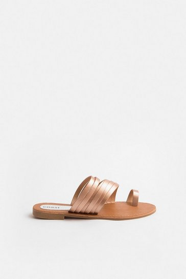 Rose gold Slip On Toe Sandals