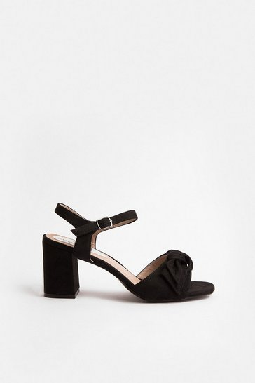 Black Bow Strap Block Heel Sandal