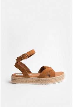 Tan Ankle Strap Wide Fit Flatform