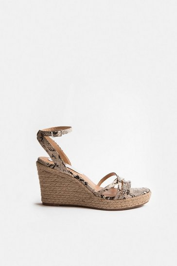 Natural Strappy Metallic Wedge