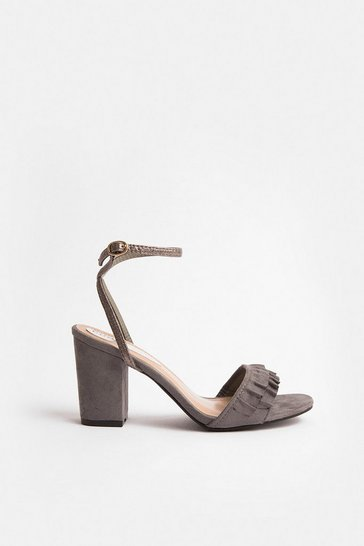 Grey Frill Toe Strap Blocked Heel Sandal