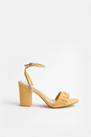 Yellow Frill Toe Strap Blocked Heel Sandal