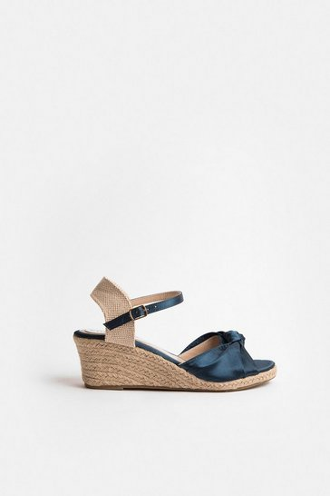 Navy Satin Knot Wedge