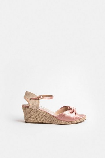 Pink Satin Knot Wedge