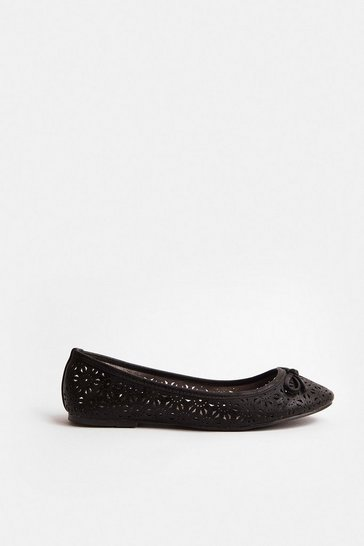 Black Laser Cut Ballerina Pump