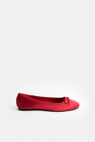 Red Satin Ballerina Pump