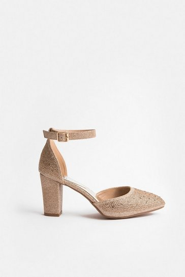 Gold Block Heel Glitter Court Shoe